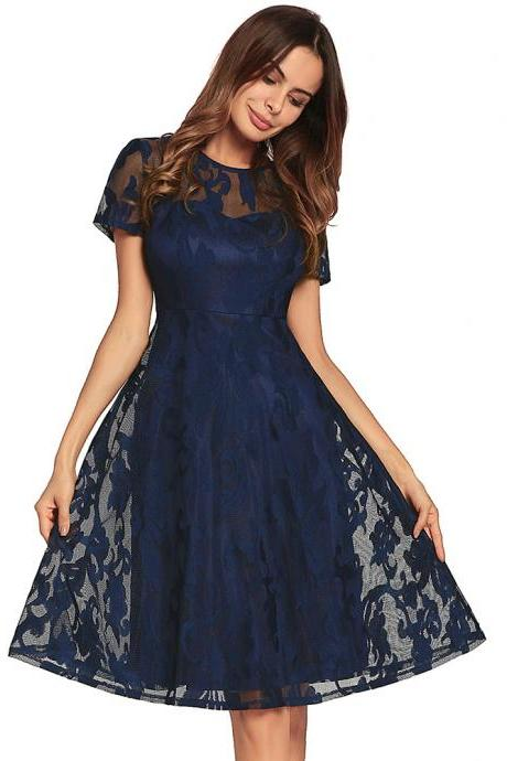 New Hollow Lace Short Sleeve Round Neck Dress - Navy Blue