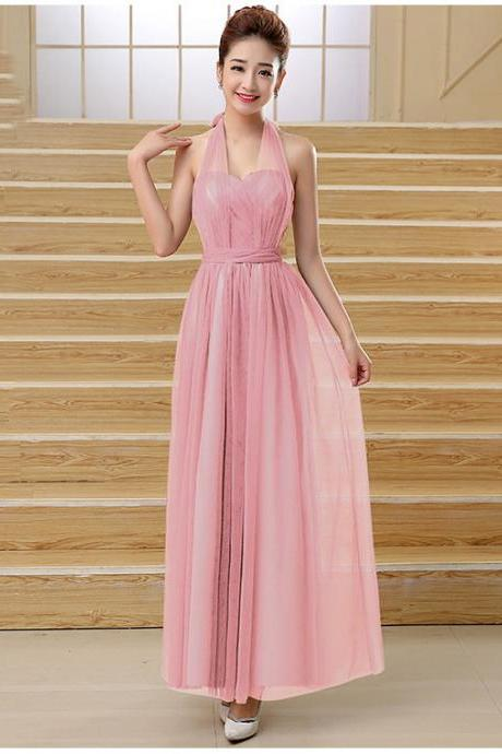 Cute Multi Wear Evening Party Dress - Pink