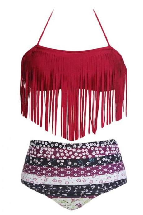 Tassel Embellished Halter Neck Printed Swimwear Bikini - Red