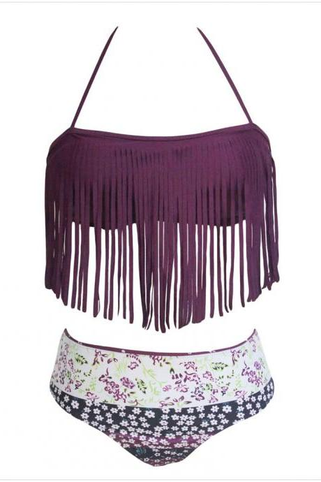 Tassel Embellished Halter Neck Printed Swimwear Bikini - Purple