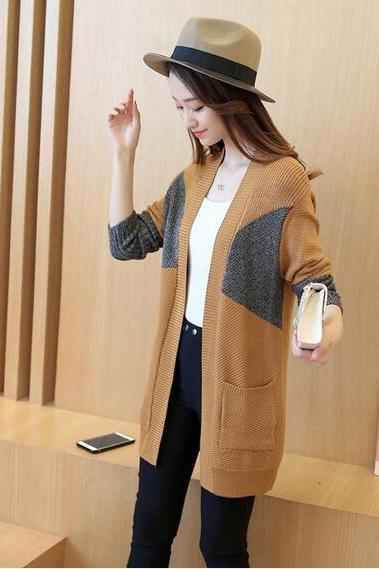 Simple Design Long Sleeve Long Cardigan Sweater - khaki