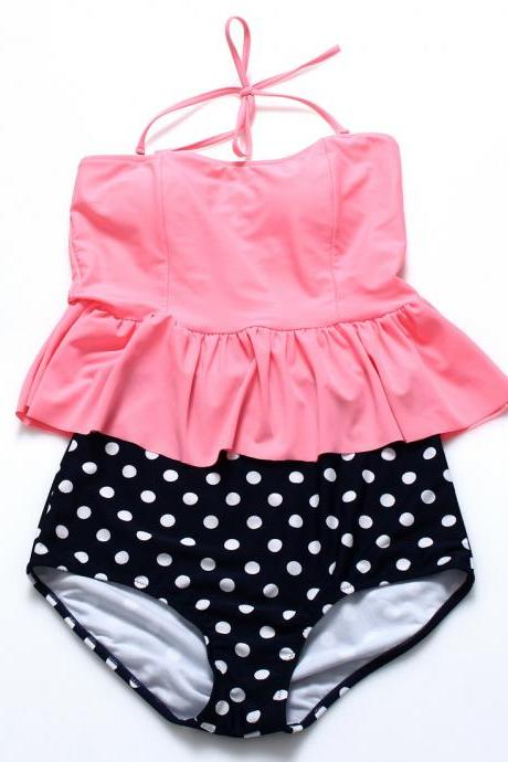 Cute Dot High Waist Bikini Set - Pink & Black