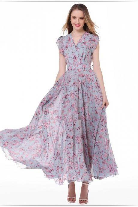 Fashion New Floral Short Sleeve V Collar Long Chiffon Dress