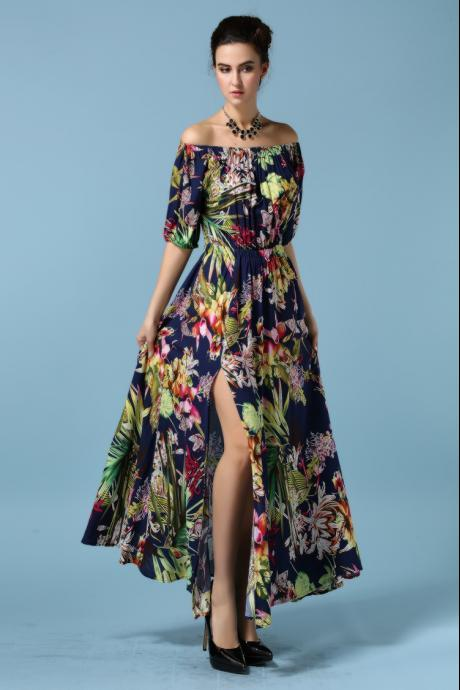 Spring and Summer New Printing Off Shoulder Chiffon Maxi Long Dress