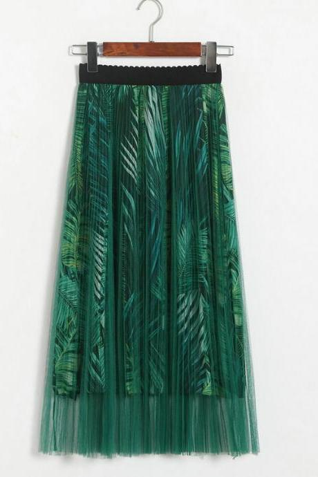 New High Waisted Pleated Printed Long Skirt - Green