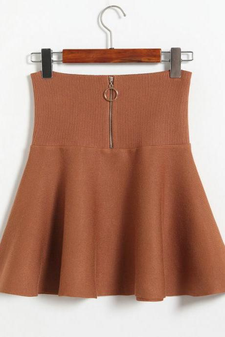 Winter Knit Wool Skirt Hight Waist Retro Solid Color Woolen Mini Skirt