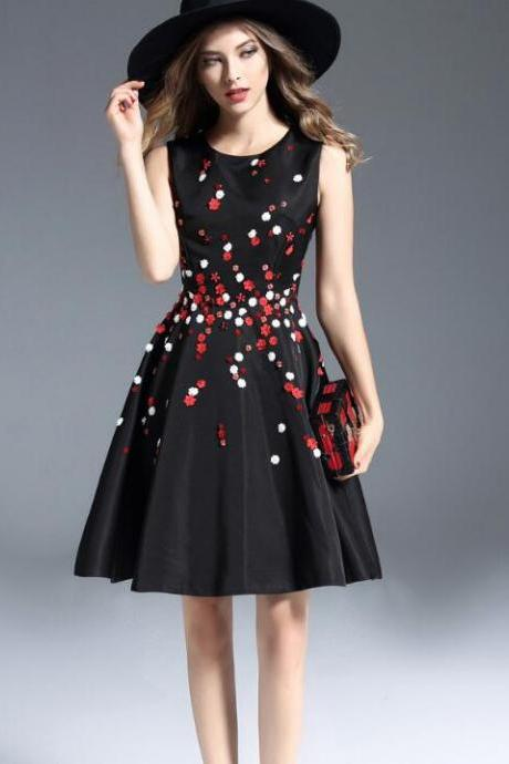 Luxury Designer Flower Gorgeous Dress - Black