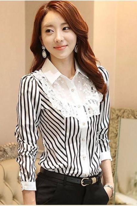 Fashion Stripe Patchwork Long Sleeve Shirt - For Women