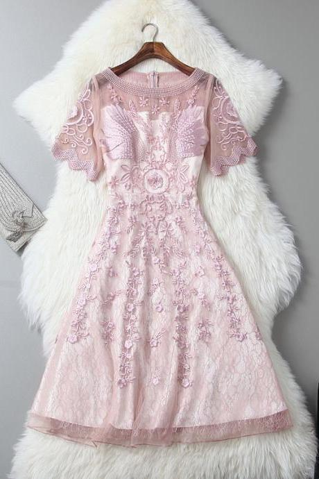 Luxury Pink Gorgeous Embroidered Lace Dress