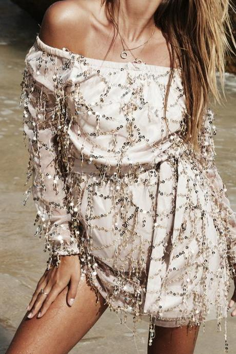 Fashion And Good Quality Sexy off Shoulders Dress With Sequins
