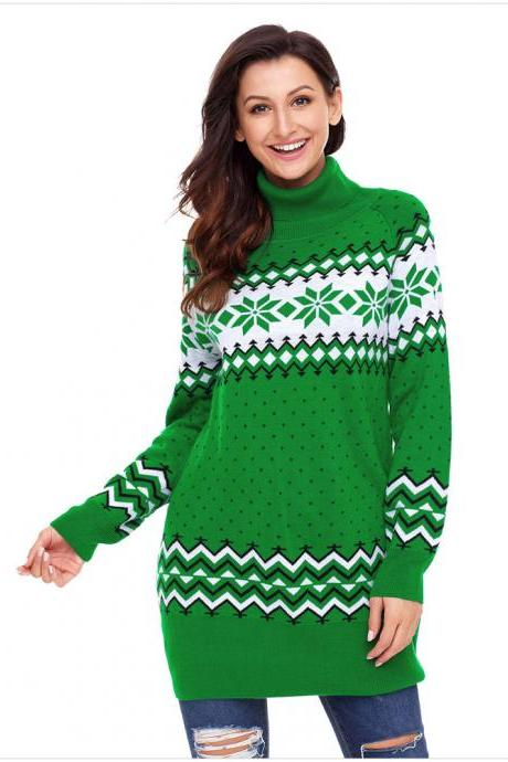 New Turtleneck Winter Christmas Snow Sweaters - Green