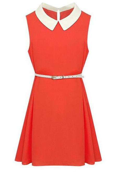 Hot Shiny Peter Pan Collar Tank Dress With Belt - Orange