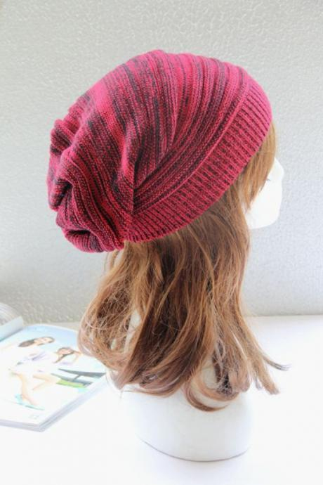 Free Shipping Women Stripe Knitted Hat Cap - Red