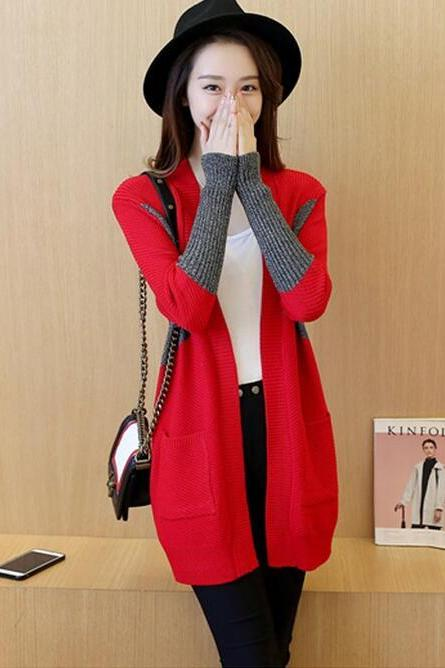 Simple Design Long Sleeve Long Cardigan Sweater - Red