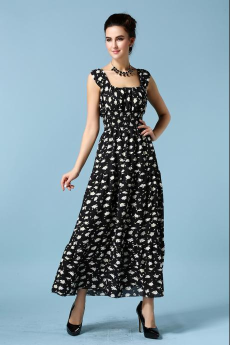 Fashion New Sleeveless Printing Long Maxi Dress - Black
