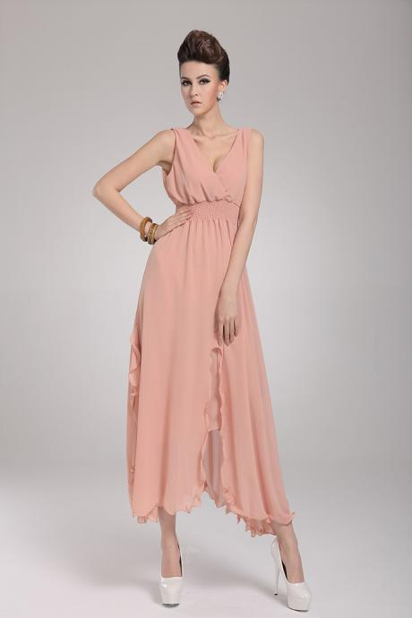 Woman Beach Essential Sleeveless Coral Chiffon Maxi Dress - Pink