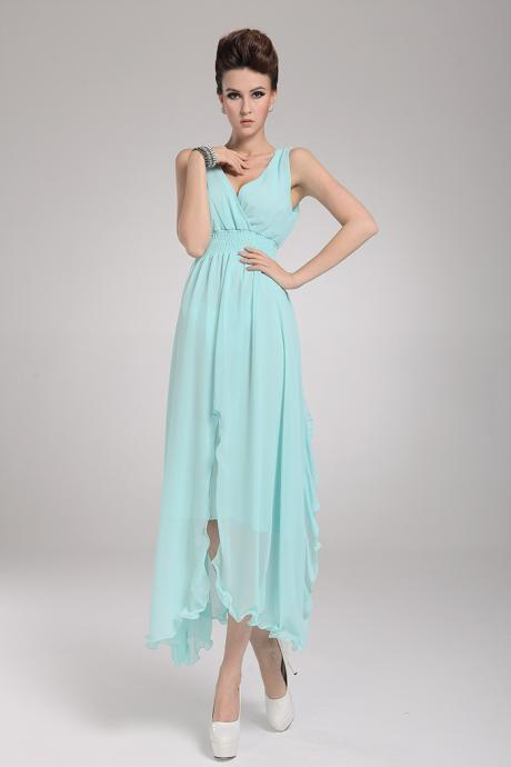 Woman Beach Essential Sleeveless Coral Chiffon Maxi Dress - Light Blue