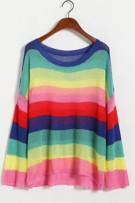 New Rainbow Long Sleeve Striped Loose Hollow Sweater