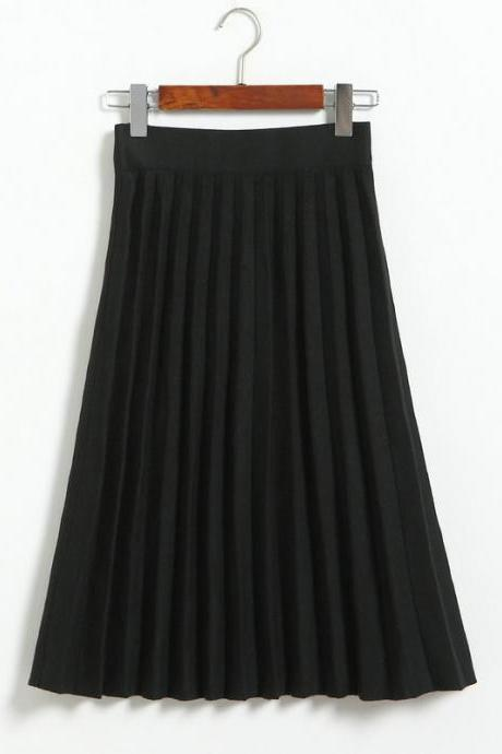 Spring Autumn Summer Style Women's High Waist Pleated Skirt - Black