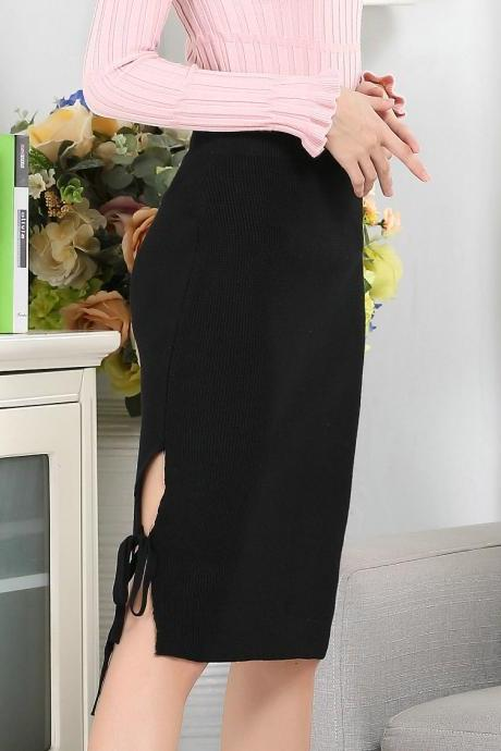 Simple Solid New Knitted Bandage High Waist Sexy Women's Skirt