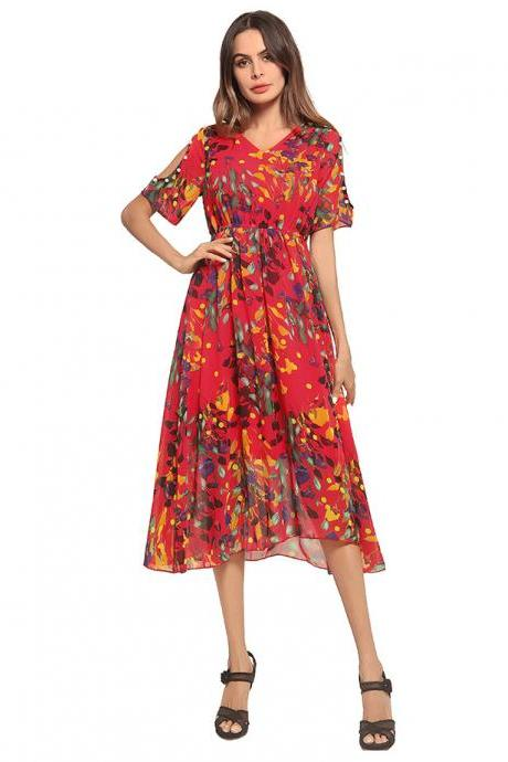 Elegant V Neck Chiffon Dress for Lady - Red