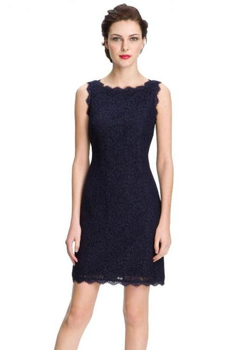 Sexy Off Back Lace Bodycon Dress - Navy Blue