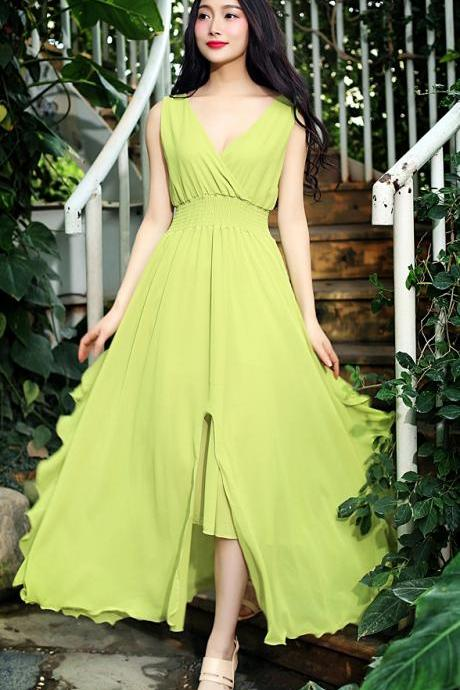 Fashion Strapless V Neck Maxi Long Dress - Green