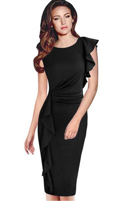 Elegant Solid Long Sleeveless Dress - Black