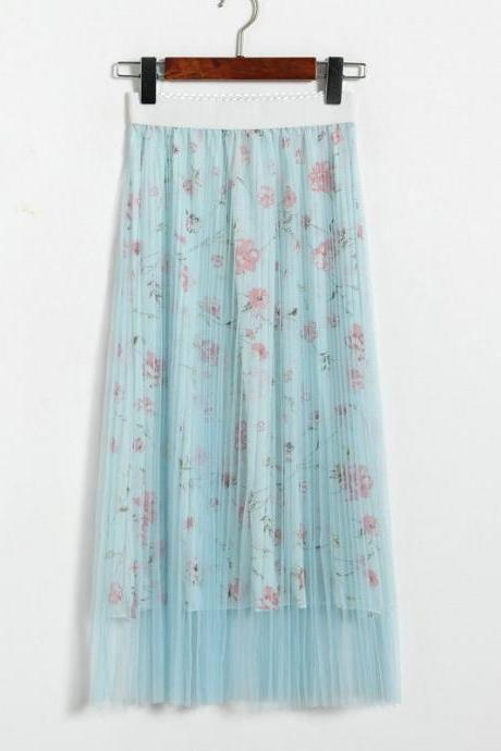 New High Waisted Pleated Printed Long Skirt - Light Blue