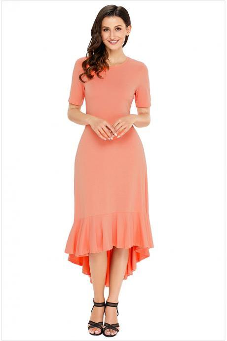 Fashion Round Neck Short Sleeve Long Dress - Pink