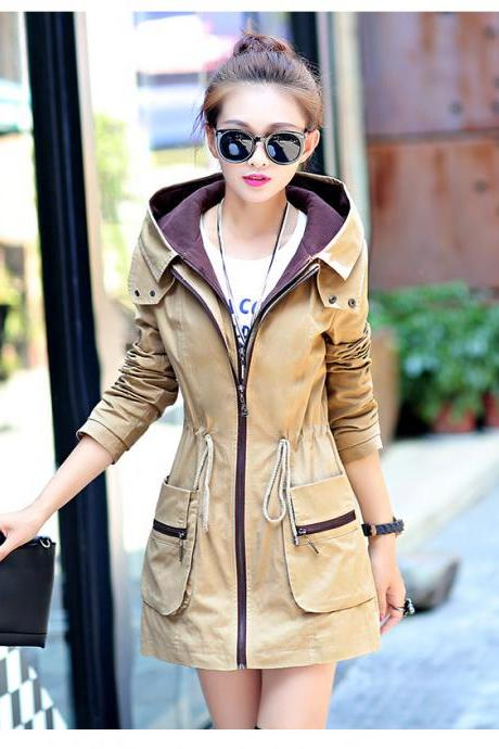 New Fashion Elastic Waist Hooded Trench Coat - Khaki