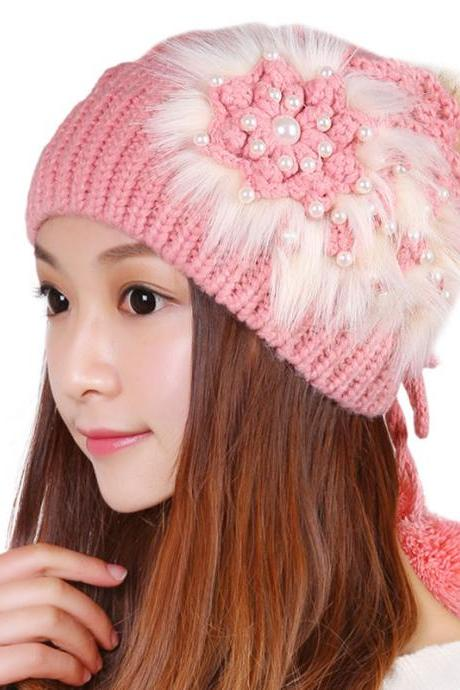 Free shipping Knitted Hat Ball Beanies Winter Hat For Women - Pink