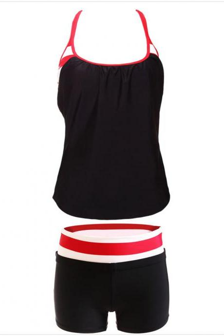 Fashion Round Neck Tank Top and Black Shorts Swimwear