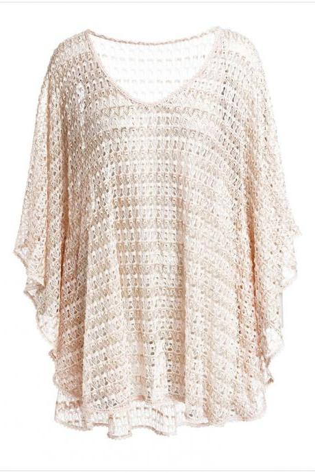 Big Loose V Neck Elastic Waist Cover Up