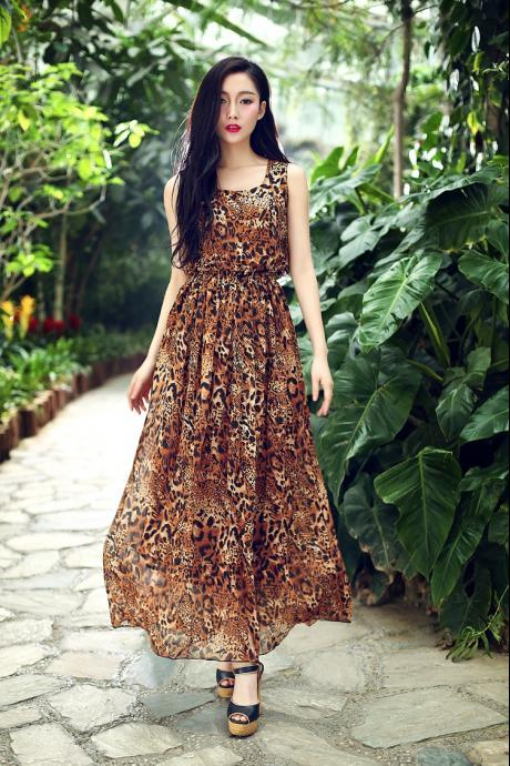 Romantic Round Neck Leopard Long Dress