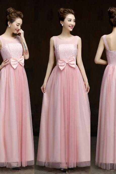 New Designer Bow Pink Sleeveless Dress