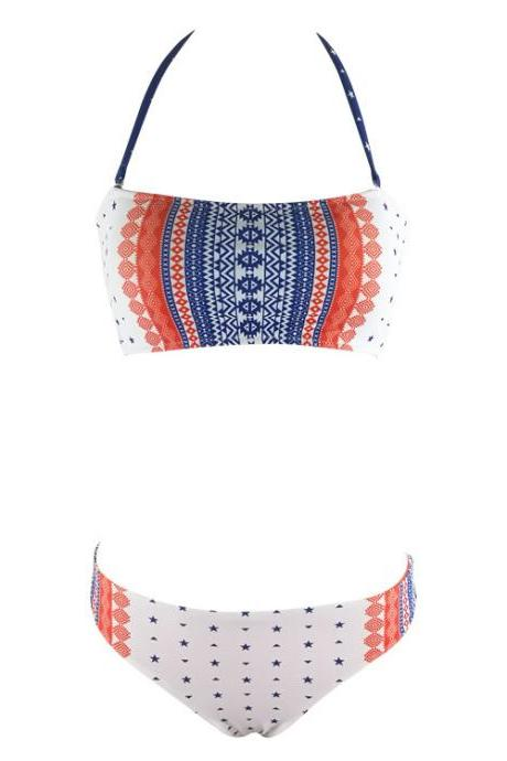 Fashion New Arrival Print Swimsuit Bikini - White