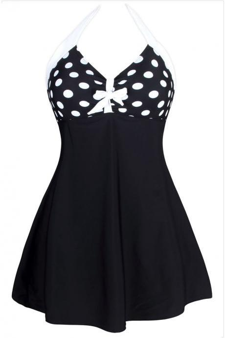 Halter Neck High Waist Dot Swimdress - Black