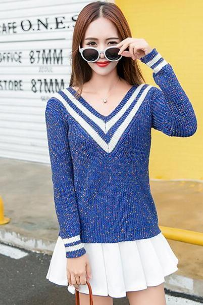 Fashion V Neck Long Sleeve Sweater Cardigans For Woman