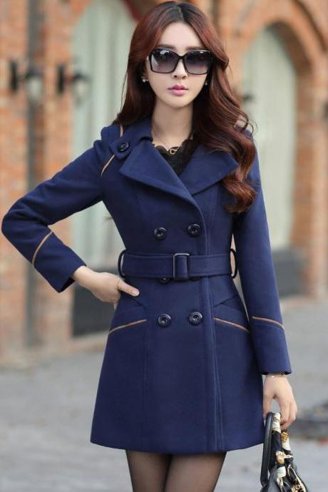 New Glamorous Double Breasted Coat - Navy Blue