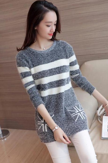 Women Strips Loose O-Neck Long Sleeve Casual Sweater Fashion Knitted Tops - Grey