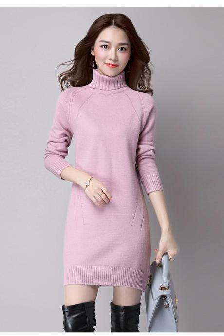 Light Purple Knitted Turtleneck Long Sleeved Short Bodycon Dress