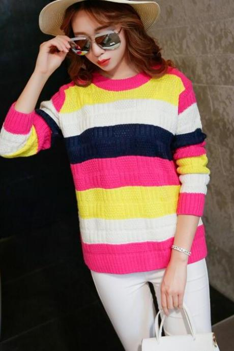 Cute Slim Pullover Sweater - Rose