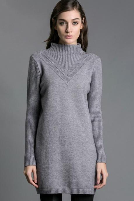 Women Sweater Turtleneck Pullover Women Sweater Dress Long Sweaters - Grey