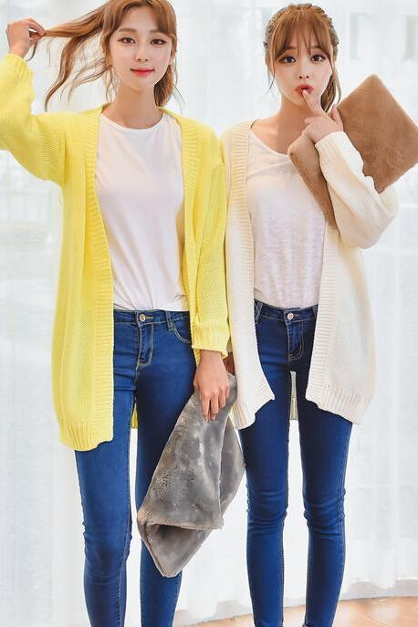 Autumn Elegant Candy Color Knit Sweater Cardigan Coat