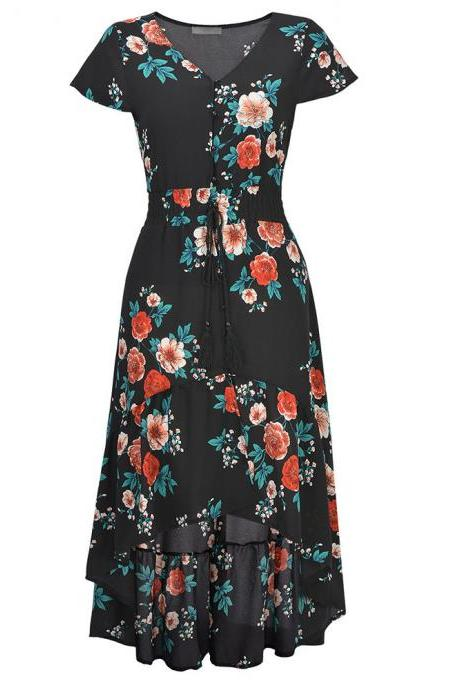 Round Neck Printed Short Sleeve High Waist Maxi Dress