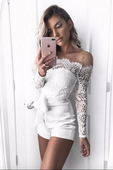 White Boat Neck Long Sleeve Lace Rompers