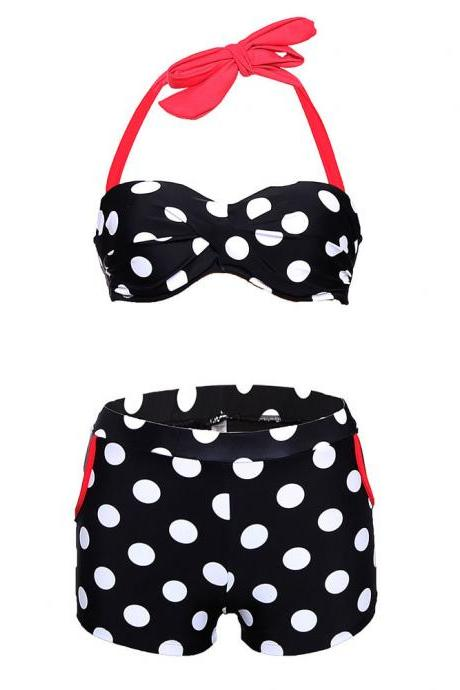 Cute Halter Neck Dot Embellished Swimsuit