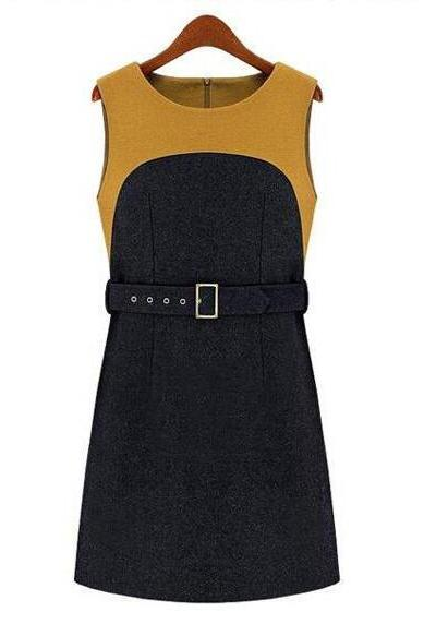 New Elegant Sleeveless Patchwork Dress With Belt