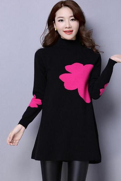 New Winter PrintingLoose Knit Female Long Sleeved Sweater - Black